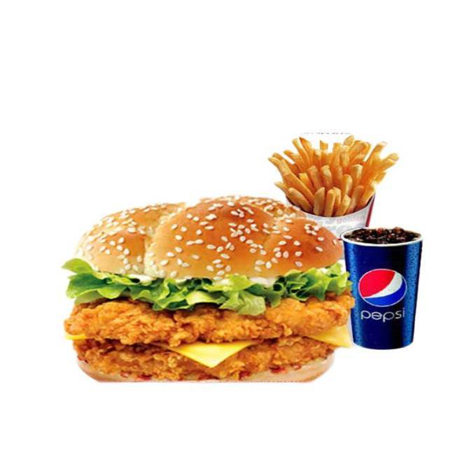 Zinger Burger with Fries, Cold drink and Coleslaw